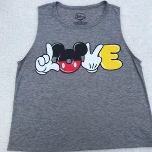 DISNEY Mickey Mouse Peace Love Tank Top T-Shirt
